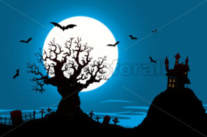 Halloween Poster – Haunted House And Evil Tree - Benchart's Shop