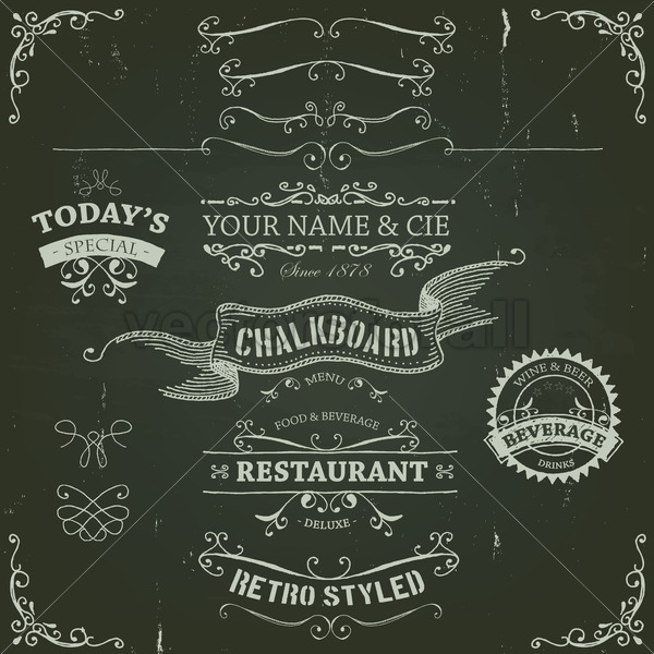 Hand Drawn Banners And Ribbons On Chalkboard - Vectorsforall