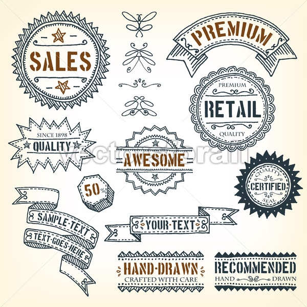 Hand Drawn Banners, Awards And Frames - Vectorsforall