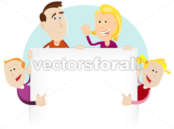 Happy Family Sign Or Banner - Vectorsforall