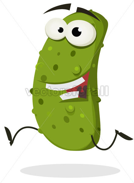 Happy Gherkin Running - Vectorsforall