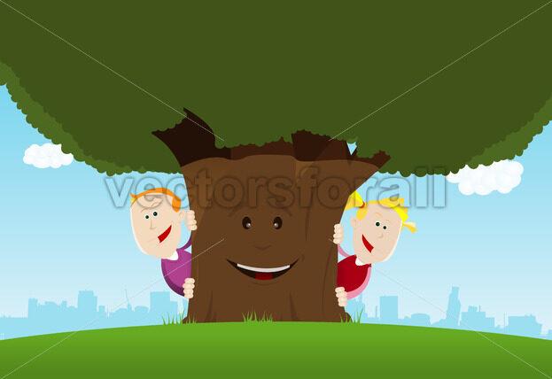 Happy Kids And Friendly Tree - Vectorsforall