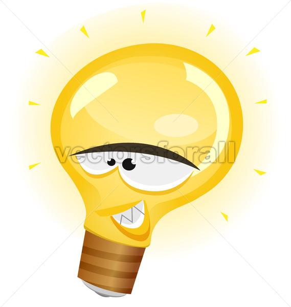 Happy Light Bulb Character - Vectorsforall