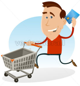 Happy Man Shopping With Credit Card - Benchart's Shop