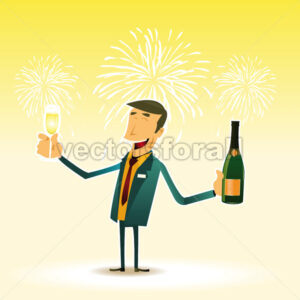 Happy Man celebrating an event with a cup a Champagne - Benchart's Shop