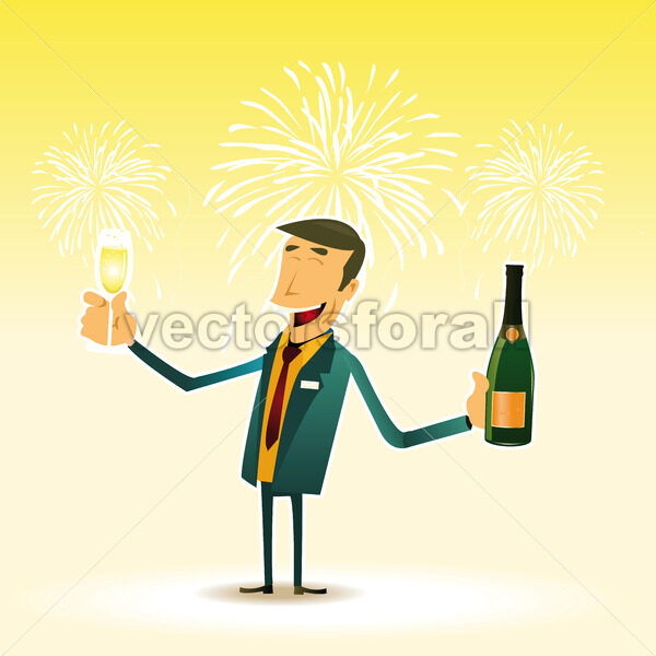 Happy Man celebrating an event with a cup a Champagne - Vectorsforall