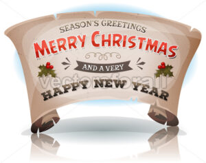 Happy New Year And Merry Christmas On Parchment Scroll - Vectorsforall