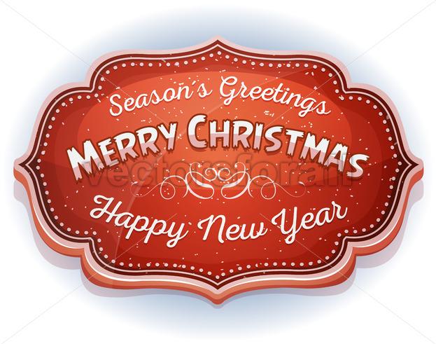 Happy New Year And Season's Greetings Badge - Vectorsforall