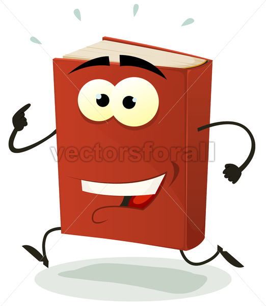 Happy Red Book Character Running - Vectorsforall