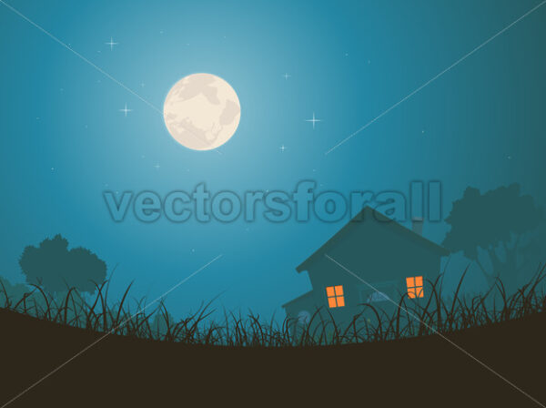 House In Moonlight Landscape - Vectorsforall