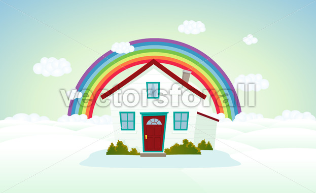 House In The Clouds With Rainbow - Benchart's Shop