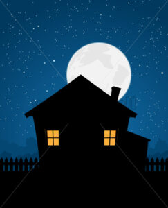 House Silhouette In Starry Night - Benchart's Shop