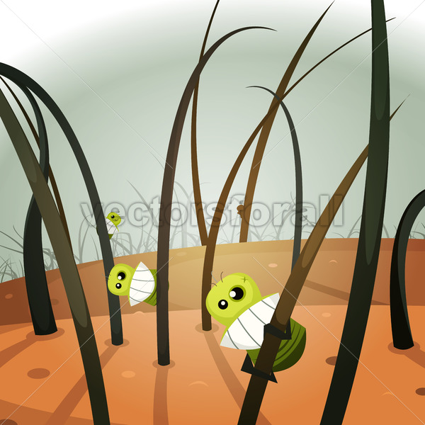 Lice Invasion Inside Hairy Landscape - Vectorsforall