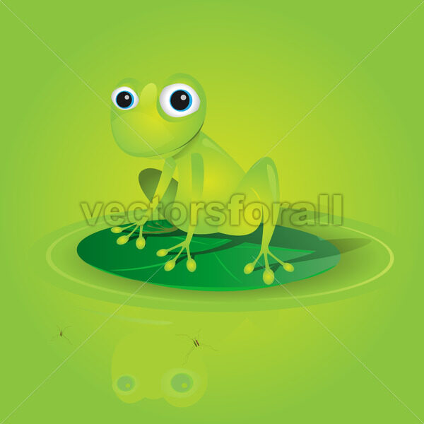 Lovely Green Frog On A Waterlily - Vectorsforall