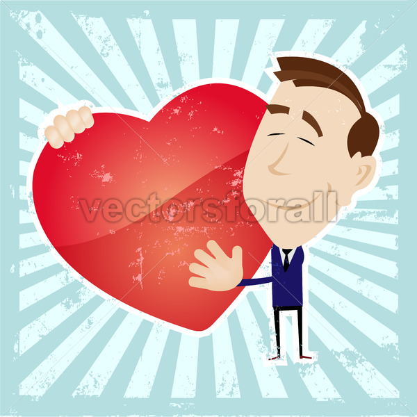 Man In Love Holding A Heart - Vectorsforall