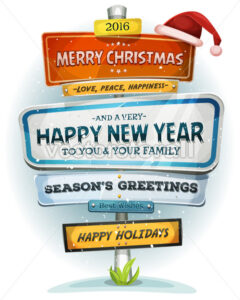 Merry Christmas And Happy New Year On Urban Signpost - Vectorsforall