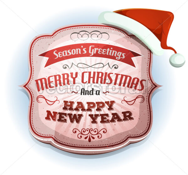 Merry Christmas And Happy New Year's Badge - Vectorsforall