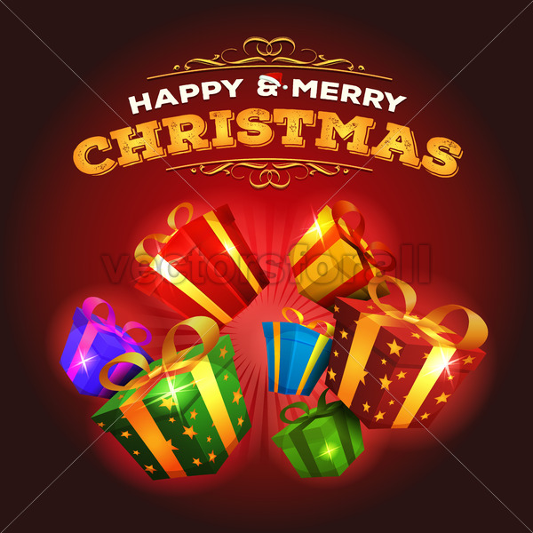 Merry Christmas Background With Explosion Of Gifts - Vectorsforall