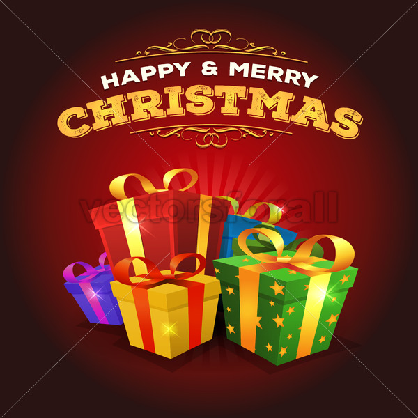 Merry Christmas Background With Stack Of Gifts - Vectorsforall
