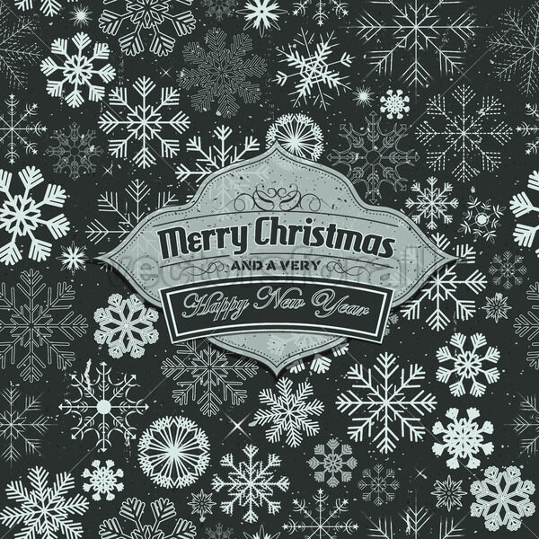 Merry Christmas Banner On Seamless Snowflakes Background - Vectorsforall