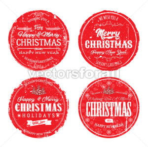 Merry Christmas Grunge Badges - Vectorsforall