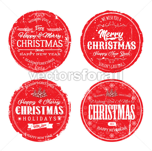 Merry Christmas Grunge Badges - Vectorsforall