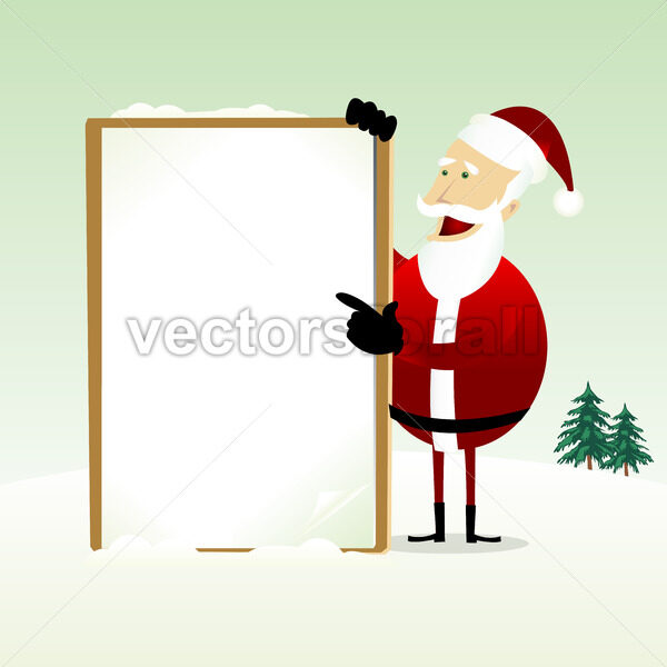 Merry Christmas : Happy Santa Claus Holding a Blank Sign - Vectorsforall
