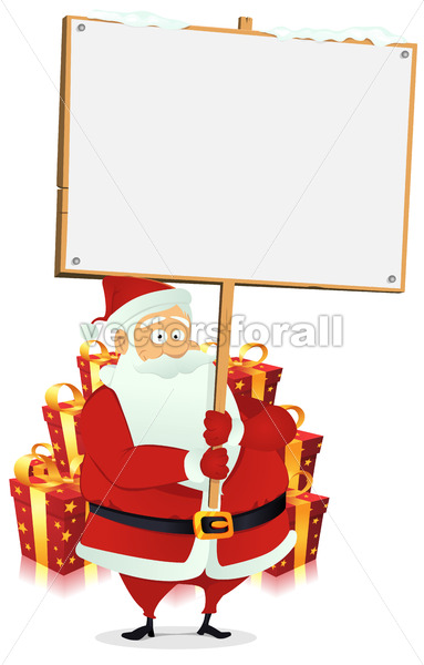 Merry Christmas : Santa Claus Holding Wood Sign - Benchart's Shop
