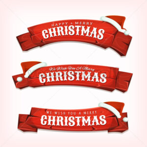 Merry Christmas Wishes On Red Wood Banners - Vectorsforall