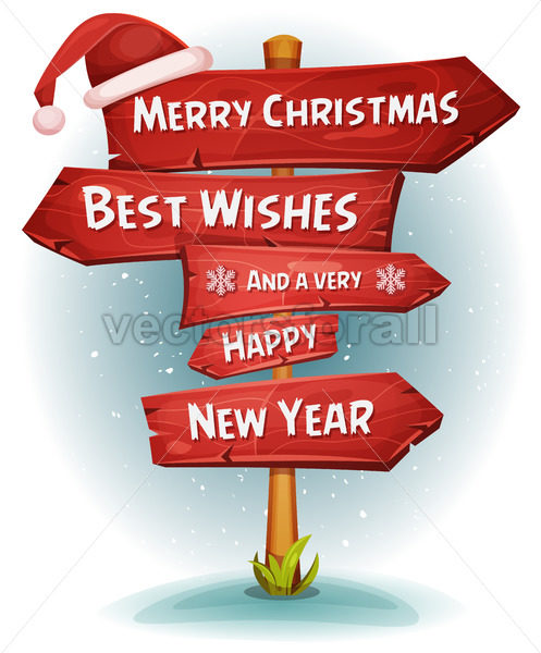 Merry Christmas Wood Road Signs Arrows - Vectorsforall