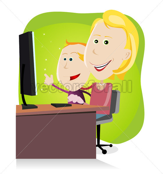 Mom and son surfing on the net - Benchart's Shop