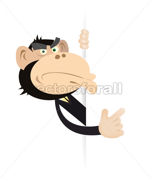 Monkey Businessman Blank Sign - Vectorsforall