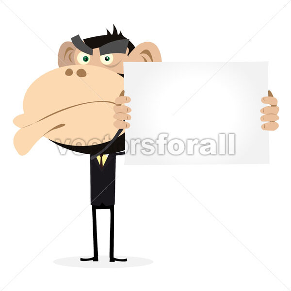 Monkey Businessman Holding A Blank Sign - Vectorsforall