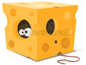 Mouse Eyes Inside Piece Of Cheese - Vectorsforall