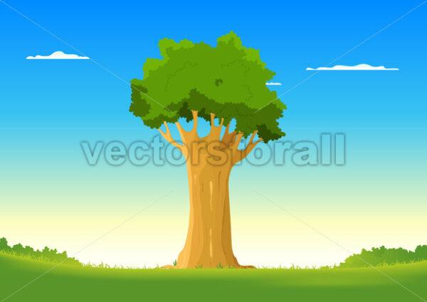Oak In Spring Field - Vectorsforall