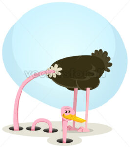 Ostrich Hiding And Looking From Hole - Vectorsforall