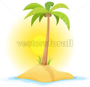 Palm Tree On Tropical Desert Island - Vectorsforall