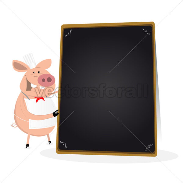 Pig Cook Holding Blackboard Menu - Vectorsforall
