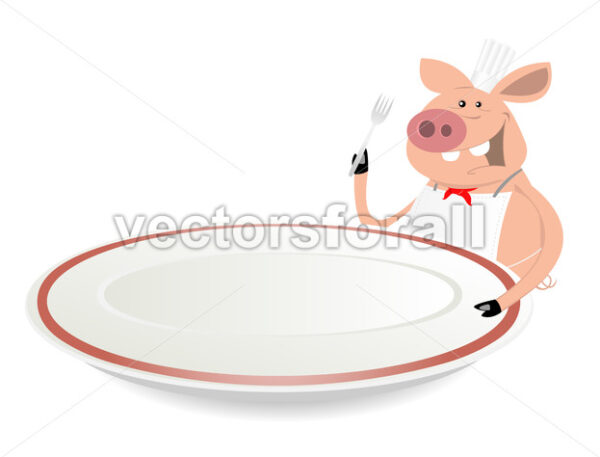 Pig Cook Showing Menu On Dishware - Vectorsforall
