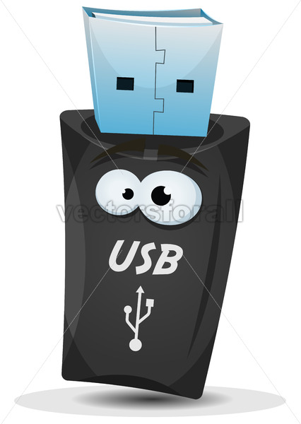 Pocket Usb Key Character - Vectorsforall