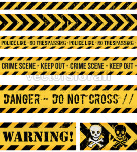 Police Line, Crime And Warning Seamless Tapes - Vectorsforall