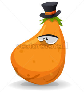 Pumpkin Character With Hat - Vectorsforall