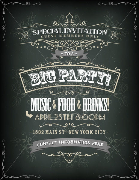 Retro Party Invitation On Chalkboard - Vectorsforall