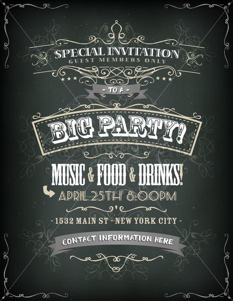 Retro Party Invitation On Chalkboard - Vectorsforall