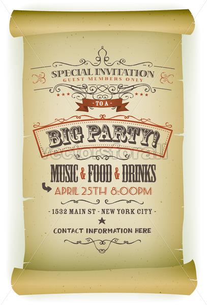Retro Party Invitation On Parchment - Vectorsforall