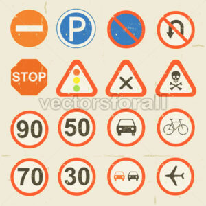 Road Signs Grunge Retro Set - Vectorsforall