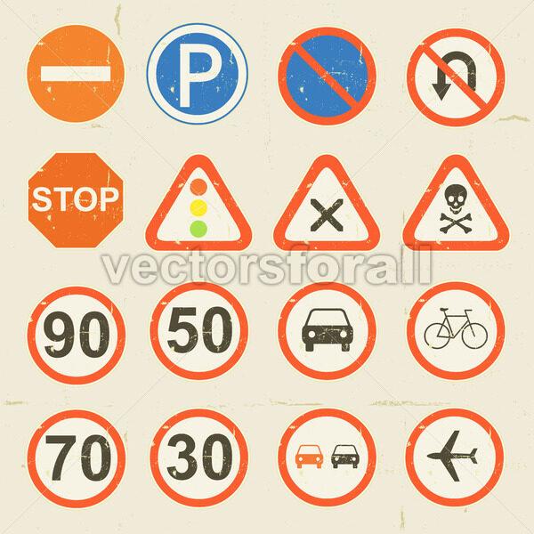 Road Signs Grunge Retro Set - Vectorsforall