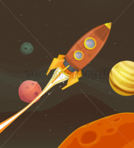 Rocket Ship Flying Through Space - Vectorsforall