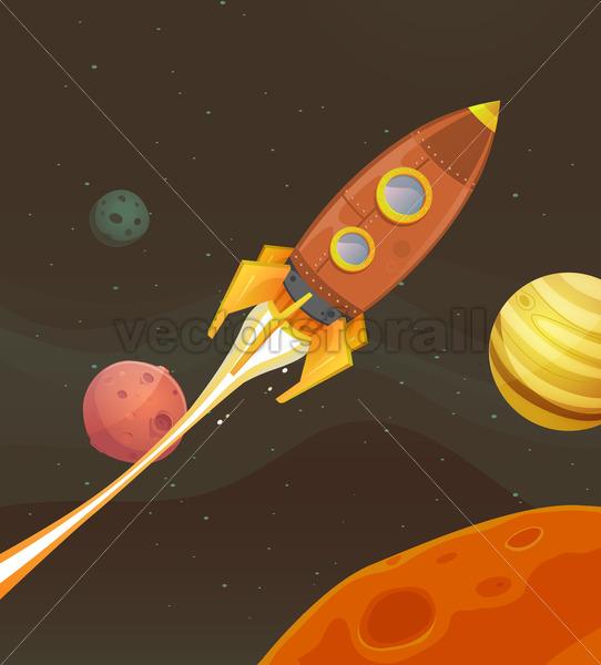 Rocket Ship Flying Through Space - Vectorsforall