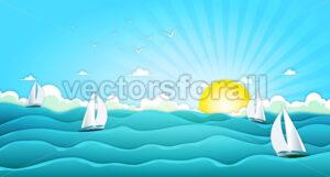 Sailing Boats In Wide Summer Ocean - Vectorsforall